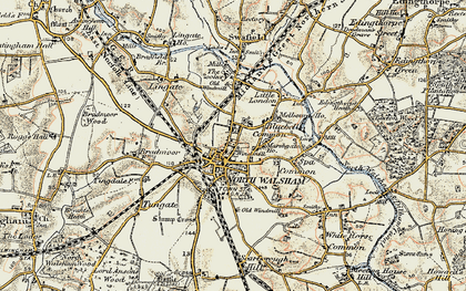 Old map of North Walsham in 1901-1902