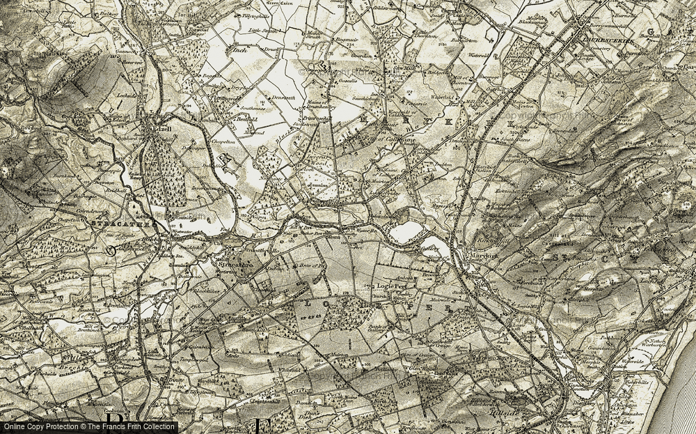 Old Map of Historic Map covering Balmakewan in 1908