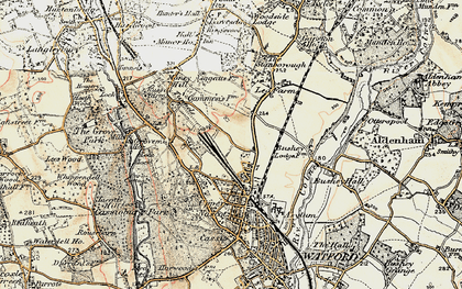 Old map of North Watford in 1897-1898