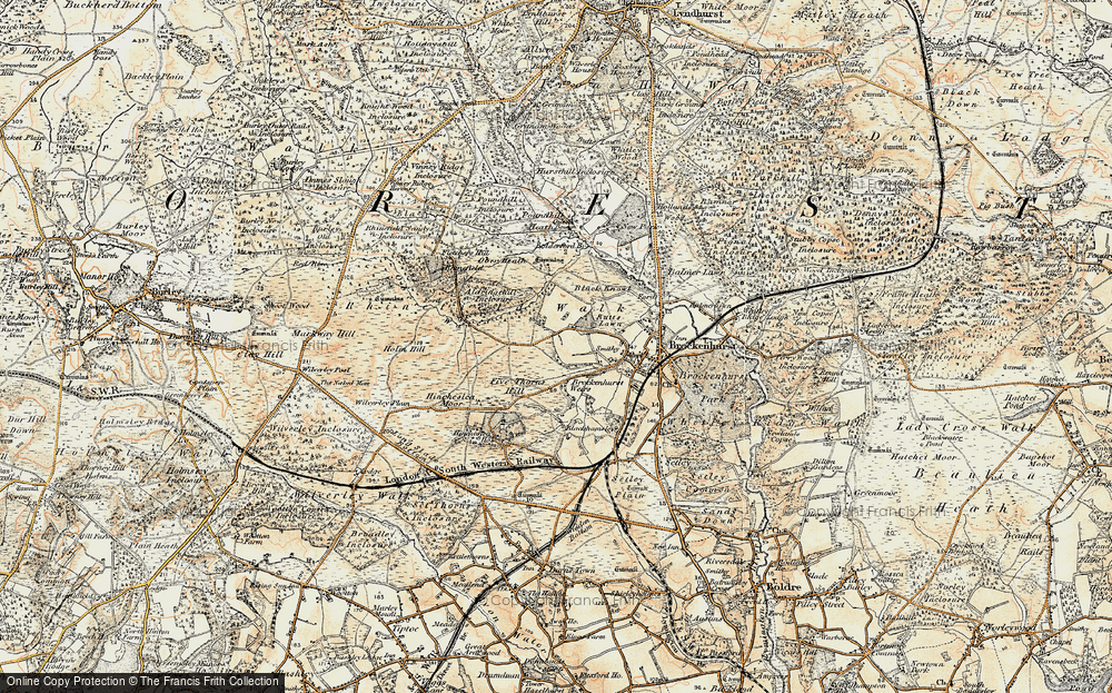 Old Map of Historic Map covering Aldridgehill Inclosure in 1897-1909