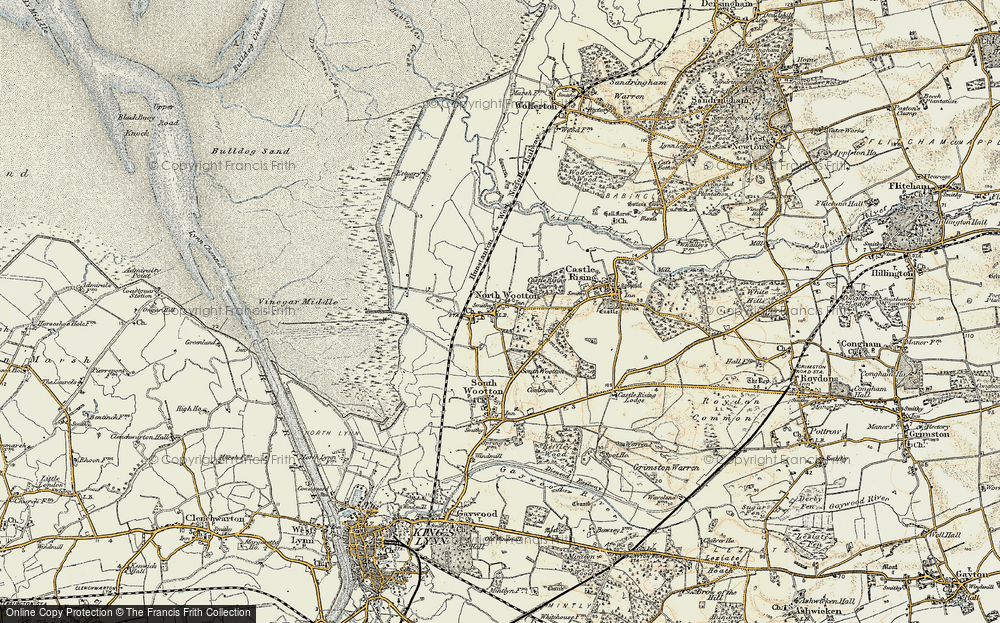 Old Map of Historic Map covering Ling Common in 1901-1902