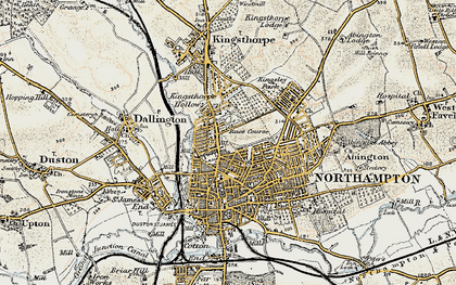 Old map of Northampton in 1898-1901