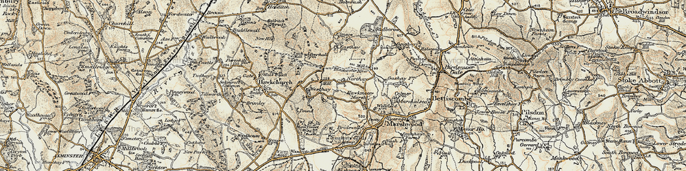 Old map of Westhay in 1898-1899