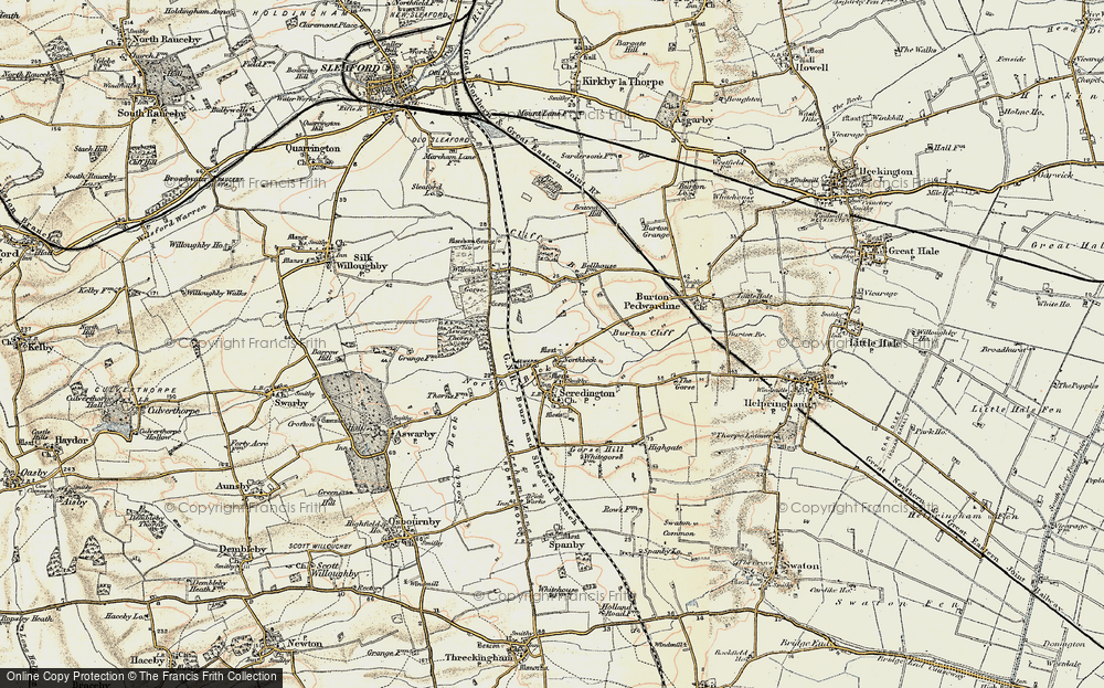 Old Map of Historic Map covering Aswarby Thorns in 1902-1903