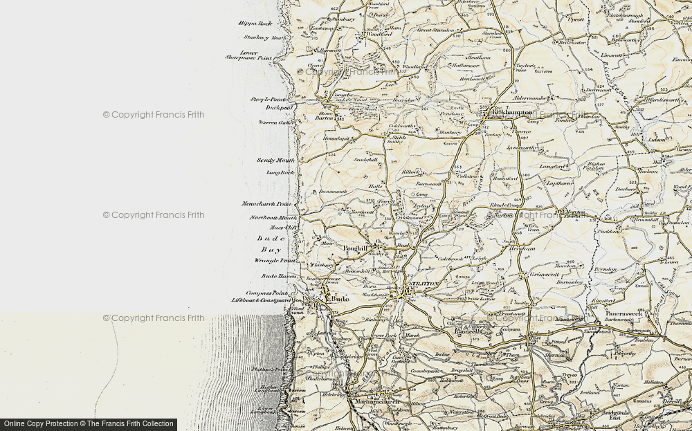 Old Map of Historic Map covering Tiscott in 1900