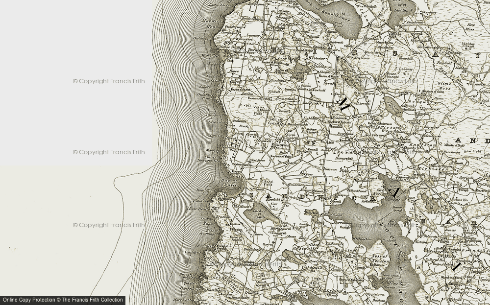 Old Map of Historic Map covering Axna Geo in 1912