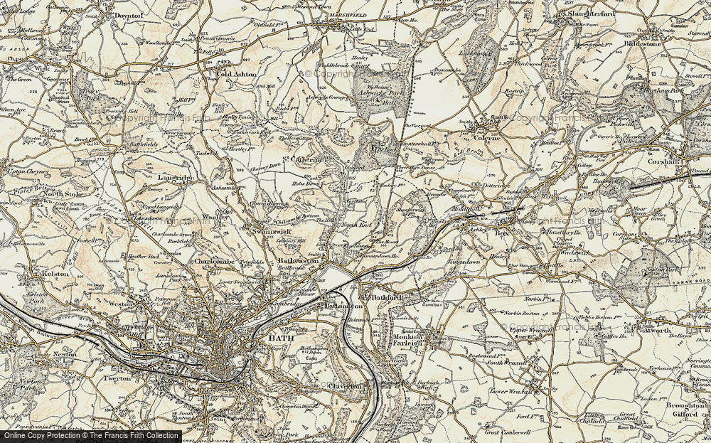 Old Map of Historic Map covering Banner Down in 1899