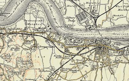 Old map of Northfleet in 1897-1898