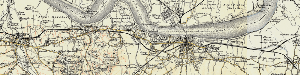 Old map of Tilbury Ness in 1897-1898