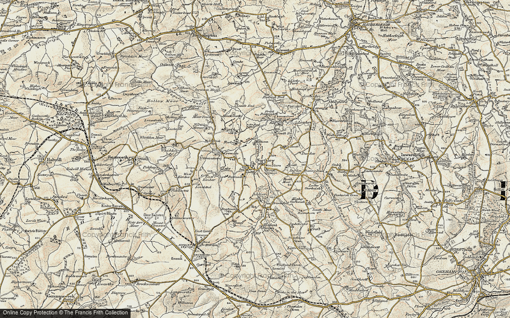 Old Map of Northlew, 1900 in 1900