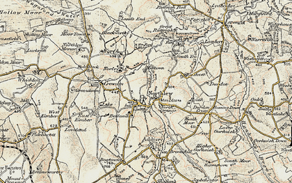 Old map of Northlew in 1900