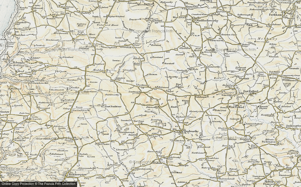 Old Map of Historic Map covering Atworthy in 1900