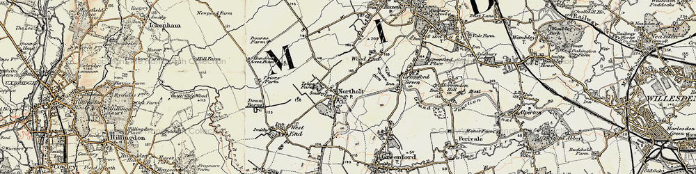 Old map of Northolt in 1897-1909