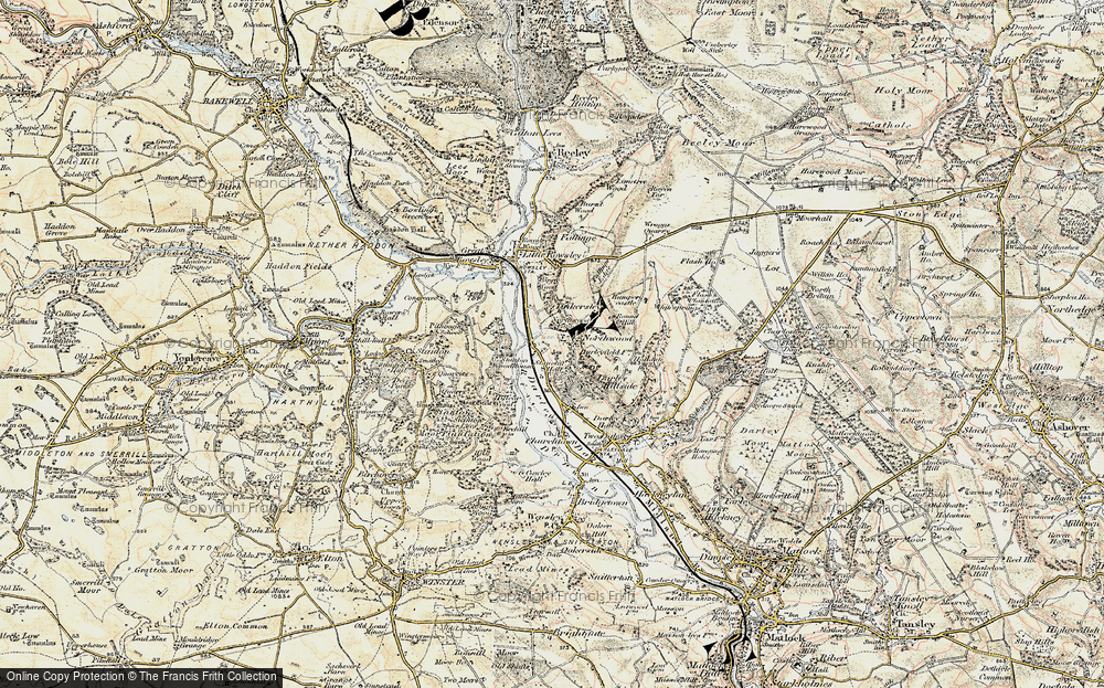 Old Map of Historic Map covering Tinkersley in 1902-1903