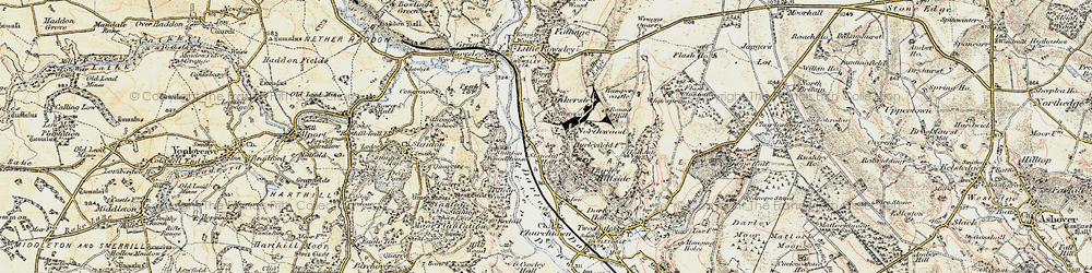 Old map of Tinkersley in 1902-1903