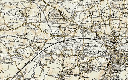 Old map of Norton Fitzwarren in 1898-1900