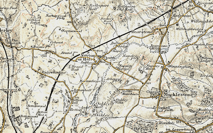 Old map of Norton in Hales in 1902