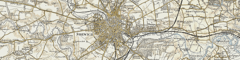 Old map of Norwich in 1901-1902