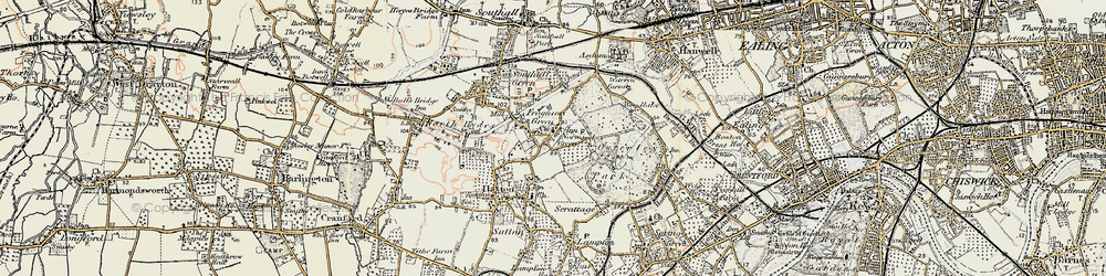 Old map of Norwood Green in 1897-1909