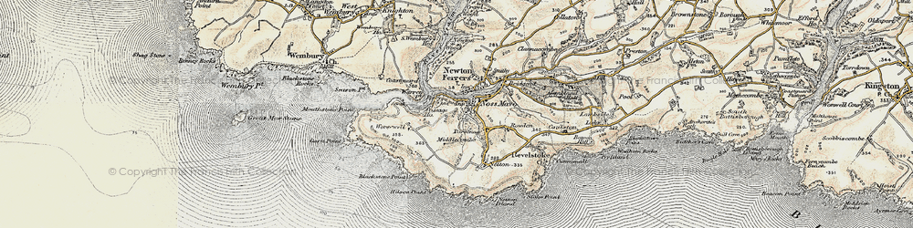 Old map of Worswell Barton in 1899-1900