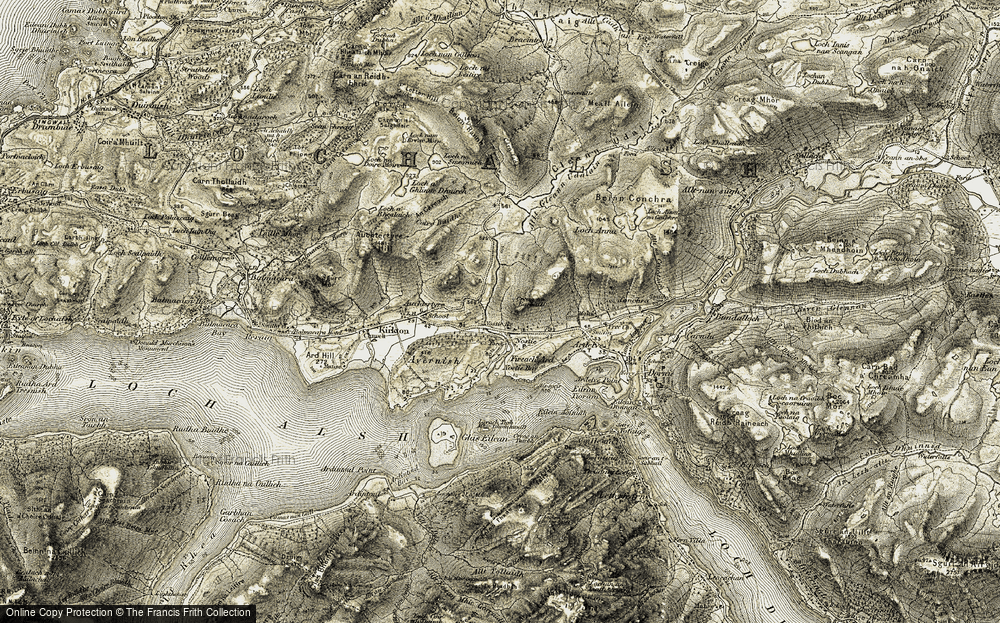 Old Map of Historic Map covering Allt Gleann Udalain in 1908-1909