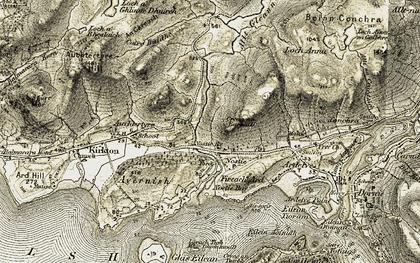 Old map of Allt Gleann Udalain in 1908-1909