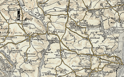 Old map of Notter in 1899-1900