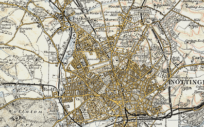 Old map of Nottingham in 1902-1903