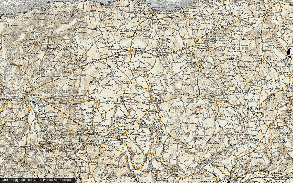 Old Map of Historic Map covering Allt-y-cadno in 1901