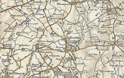 Old map of Allt-y-cadno in 1901
