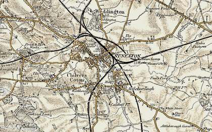 Old map of Nuneaton in 1901-1902