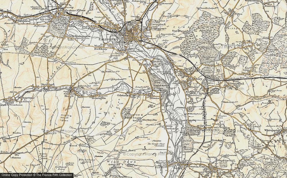 Old Map of Historic Map covering Clearbury Ring in 1897-1898