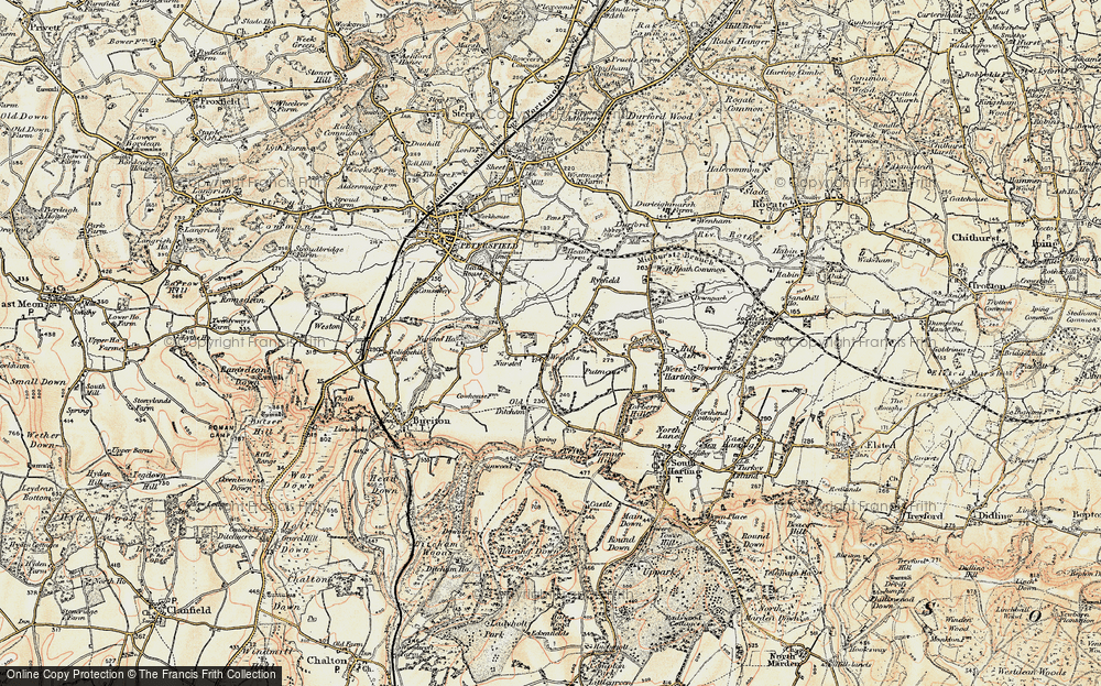 Old Map of Historic Map covering Leith Copse in 1897-1900