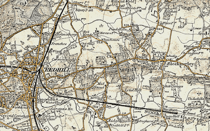 Old map of Nutfield in 1898-1902