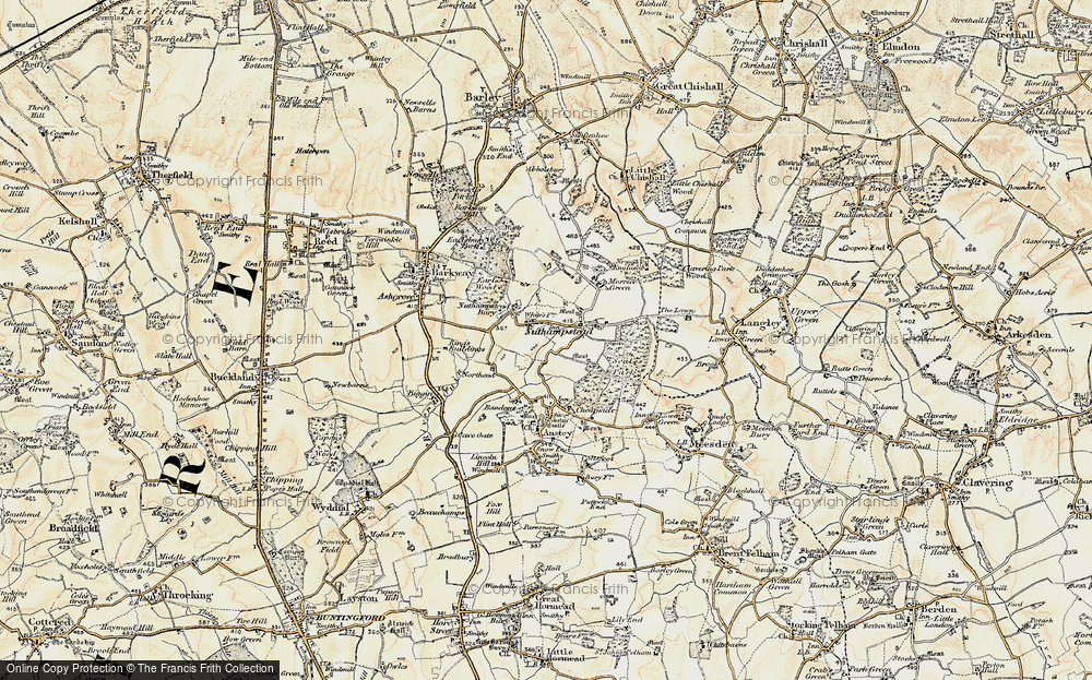 Old Map of Nuthampstead, 1898-1901 in 1898-1901