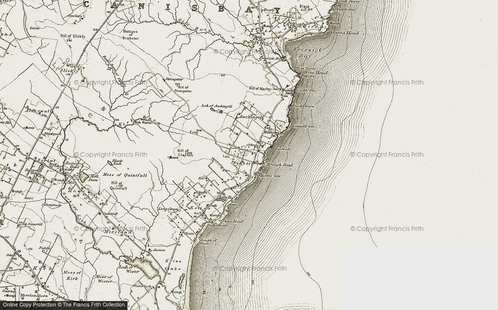 Old Map of Historic Map covering Auckengill in 1911-1912