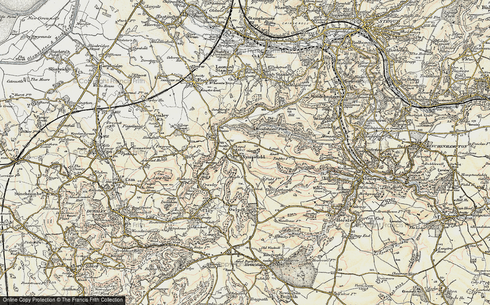 Old Map of Historic Map covering Woodchester Park in 1898-1900