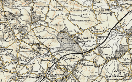 Old map of Nynehead in 1898-1900