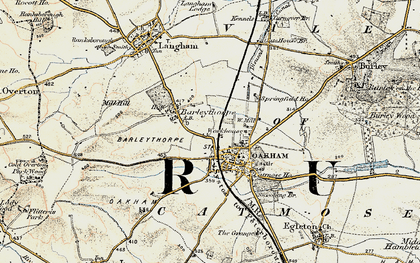Old map of Oakham in 1901-1903