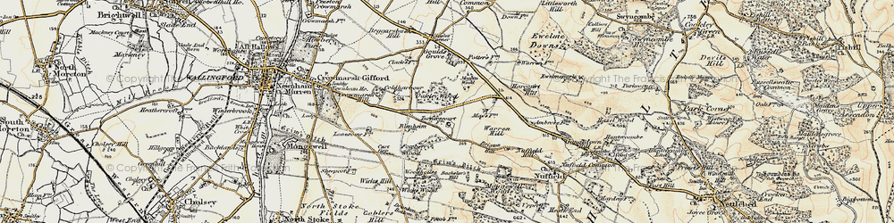 Old map of Wicks Wood in 1897-1898