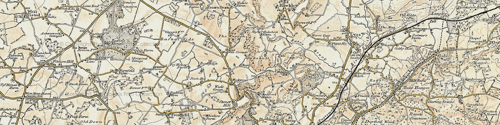 Old map of Wheatham Hill in 1897-1900