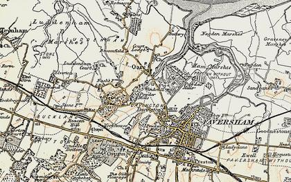 Old map of Oare in 1897-1898