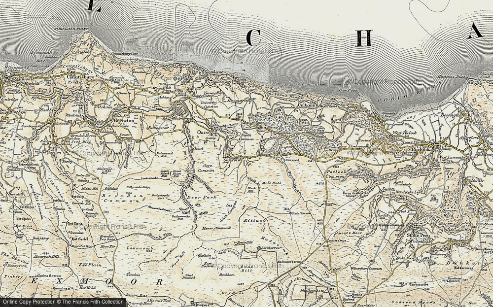 Old Map of Historic Map covering Badgworthy Water in 1900