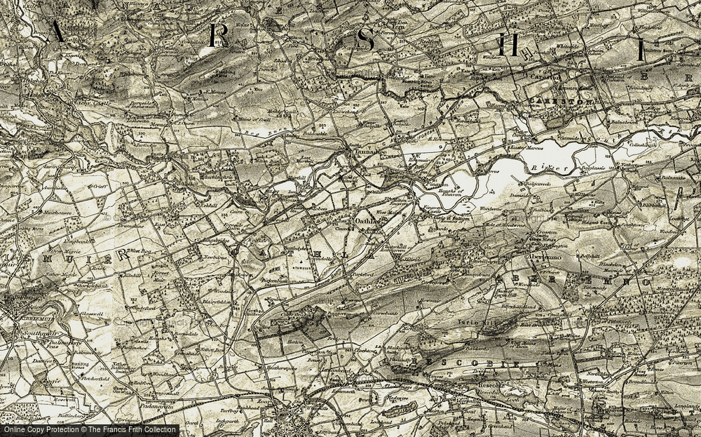 Old Map of Historic Map covering Tobees in 1907-1908