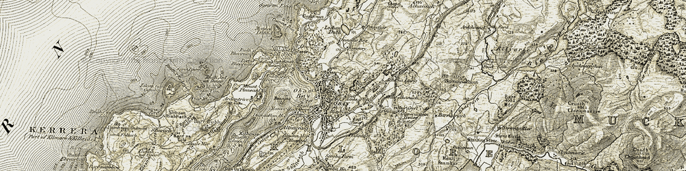 Old map of Oban in 1906-1907