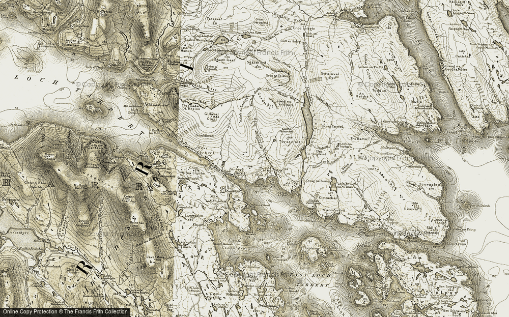Old Map of Historic Map covering Abhainn Urgha in 1908-1911