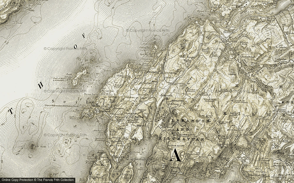 Old Map of Historic Map covering Allt Dallermaig in 1906-1907