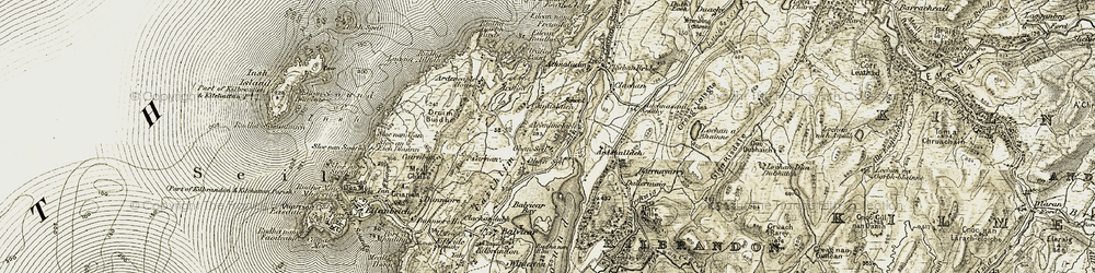 Old map of Ardfad Point in 1906-1907