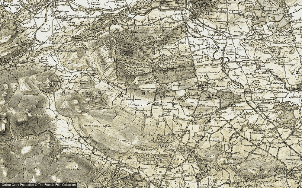 Old Map of Historic Map covering Allans in 1906-1907