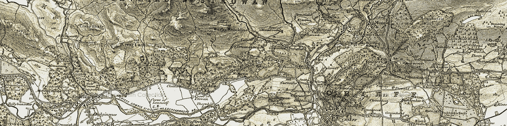 Old map of Wester Knockbae in 1906-1907